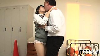 Sexy schoolgirl shows her hairy cookie and sucks on a toy