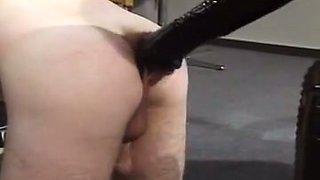 Short haired white blonde milf in latex body teases mature guy