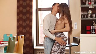Flexible teen brunette Little Hellcat rides dick hardcore