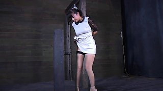 Glorious brunette woman who likes to ride her sex toy