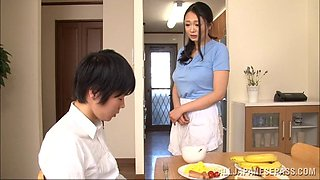A very good Japanese wife cooks him dinner and gives a handjob
