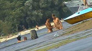 Russian nudist beach with couples sunbathing sweet
