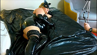 shy kitty in latex smoking, no sex part 2