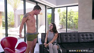 teen aidra fox in glasses is sucking the big boner