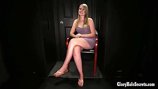Blonde Hottie sucks off strangers in a gloryhole