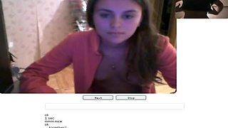Chatroulette porn w/ cute teen brunette