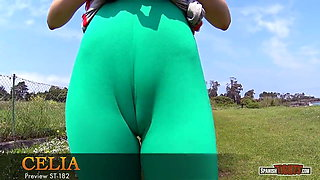 Is her cameltoe nearly perfect?
