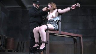 Gagged footfetish slave getting whipped