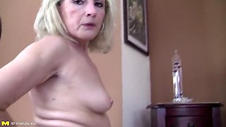 Mature pervert mother tries her own pee