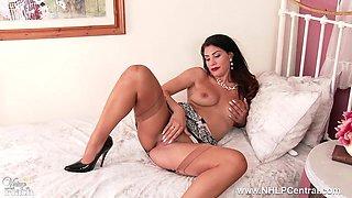 Brunette Roxy Mendez toys pussy in lingerie vintage nylons