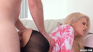Torrid Latina blondie in ripped pantyhose gets banged from the back