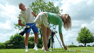 Playing golf with sex-appeal babe Ashley Lane and fucking her yummy pussy