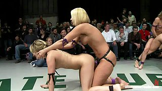 Four horny and naughty babes are in a wild wrestling