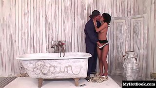 Ravishing honey Angelika Black delivers a fascinating blowjob