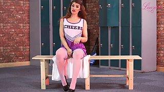 Horny cheerleader Katie Louise is ready to flash her nice body in locker room