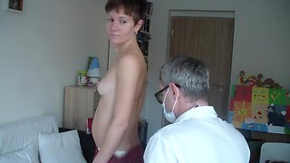 surprise during examination of young russian woman with a pervert doctor