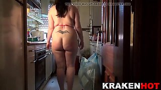 krakenhot - spanky in the kitchen with a chubby housewife