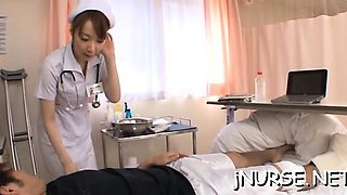 Hot oriental nurse moans with dong deep in her cherry