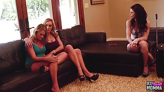 Hot milf fucks and cums with two babes