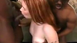 Redhead creampied black midget - interracial threesome