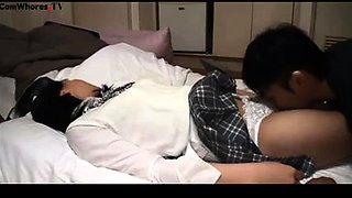 Cute Japanese teen with a hot ass gets fucked and creampied