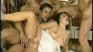 Two lascivious strumpets gets gangbanged on the chairs