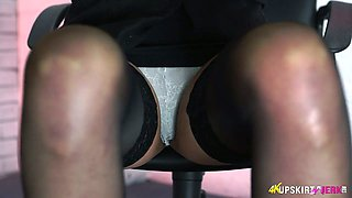 Filthy secretary Fi Fi is flashing upskirt under the table