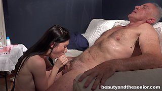 Mia Evans kissing her older partner Michele making him very hard