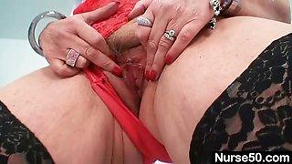 Big tits redhead lady dildoying hairy pussy