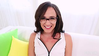 Nerdy Alex More having her trimmed twat dicked by James Deen