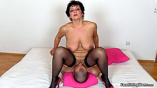 Mature Greta Face Sitting on Her Slave