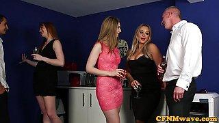 Hot Euro CFNM milf shares her sub husband