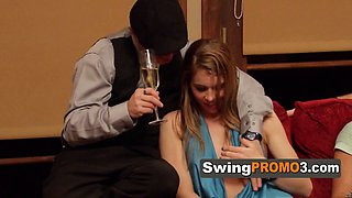 Swingers couples try lap dancing.