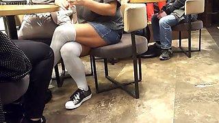 horny girl sexy legs upskirt in short skirt socks