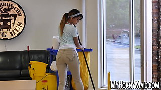 Handsome latina maid got her tight snatch hammered hard