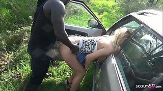 German Teen Street Hooker Fuck Outside in Car by Big Black