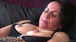 Perverted granny gives her horny lover an amazing blowjob