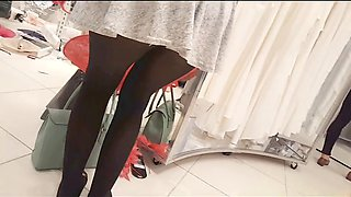 sexy girl in mini skirt and black stockings Upskirt