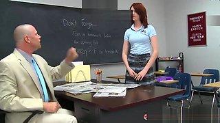 Dirty School Principal Fucks Slutty Little Redhead Schoolgirl Newbie