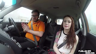 Redhead driving student fucks instructor