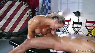 Gorgeous oiled up babe Abbey Brooks sucks and fucks in cowgirl pose