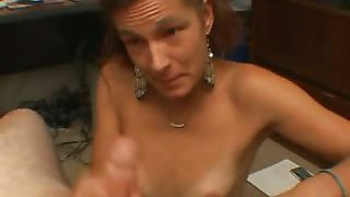 Funny mom loves to suck cock when she\'s at home