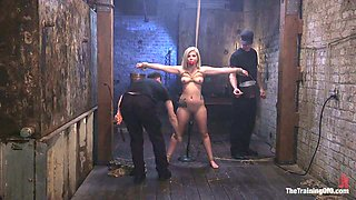 Blond bitch with juicy tits Rikki Rumor gets punished in the BDSM room