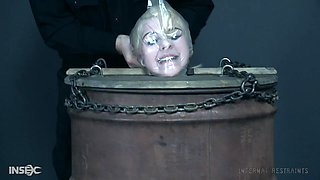 Blonde teen babe Dolly Mattel abused with a bag over her head