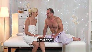 Massage Rooms Innocent blonde Milf has intense orgasm before creampie