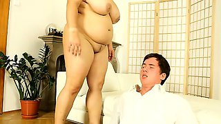 Hot fatty Leny facesits her slave and strokes his cock