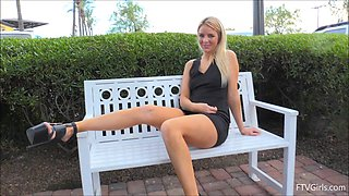 Black platform heels are gorgeous on this upskirt flashing blonde