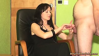 2 cumshots on Maya black dress