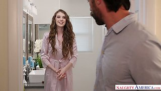 Charming babysitter Elena Koshka gets her pussy nailed by bearded man