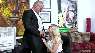 Nasty blonde Luiza hooks up with horny boss who is always eager for dirty sex